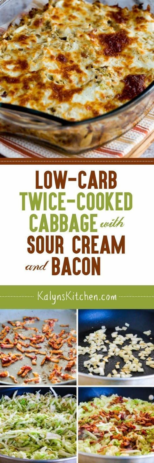 We swooned over this Low-Carb Twice-Cooked Cabbage with Sour Cream and Bacon when we tested the recipe, and this dish is also gluten-free. I'd eat it as an occasional treat for the South Beach Diet too, although South Beach would recommend turkey bacon. [found on www.kalynskitchen.com/] kalynskitchen.com