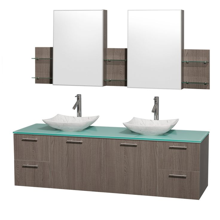 Images On Amare inch Double Bathroom Vanity in Gray Oak Green Glass Countertop Arista White