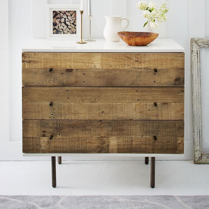 Best of both worlds. Town meets country on our Reclaimed Wood + Lacquer Dresser, framing rustic pine drawers in a sleek lacquer frame. The wood comes from solid pine shipping pallets, reinvented into unique storage pieces for the home.