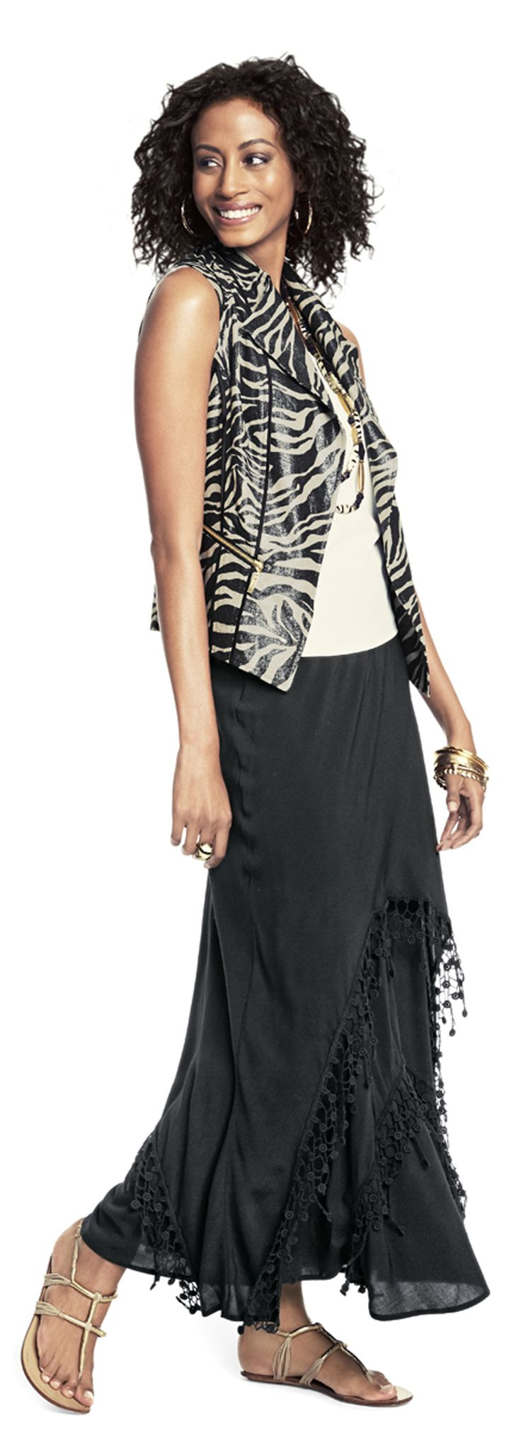 Chico's Foiled Zebra Vest and Lace Trim Lainey Skirt