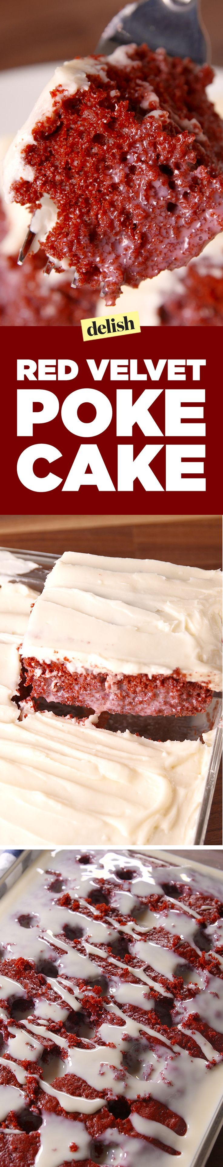 This red velvet poke cake is the perfect dessert for any party. Get the recipe on http://Delish.com.