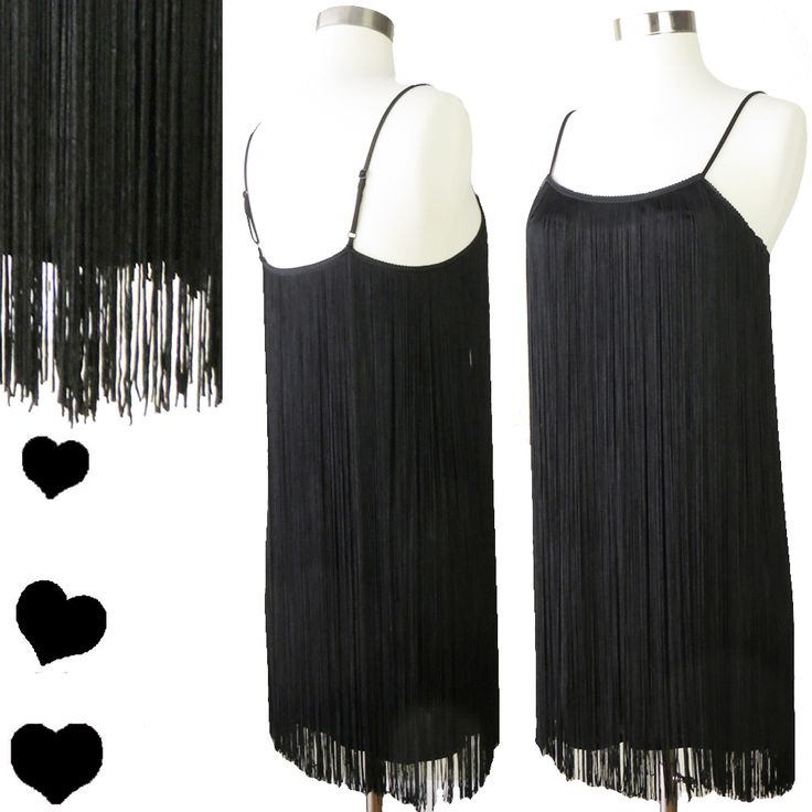 Retro Flapper Fringe ARMANI Black Dress S, $60.00