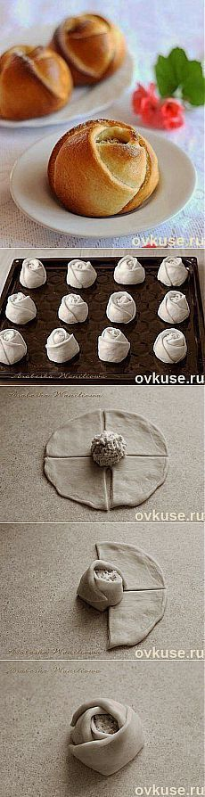 Muffin-Roses---maybe wrapped around a peach or apple or something instead of foil