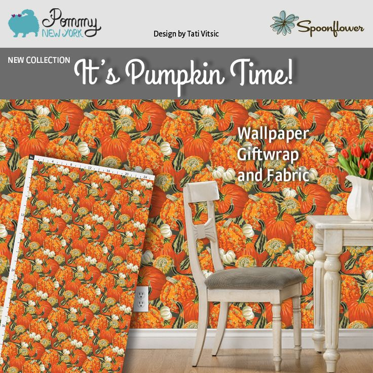 It's Pumpkin Time! Fabric, Wallpaper and Giftwrap by Pommy New York: https://www.spoonflower.com/designs/6745661-pumpkins-by-pommynewyork?utf8=%E2%9C%93&view=202719