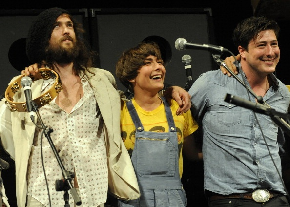 Alexander Ebert and Jade Castrinos of Edward Sharpe & the Magnetic Zeroes with Marcus Mumford at SXSW.  Adorable!