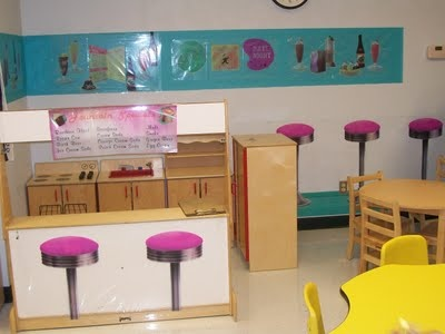 Route 66 theme and a diner in the dramatic play area. Working on incorporating a lot of geography and Social Studies in.