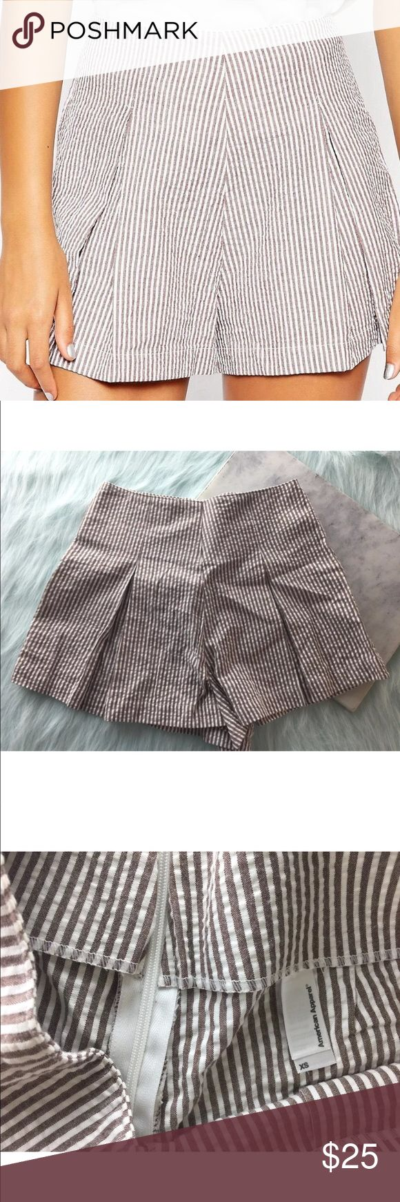 "American Apparel Seersucker Hampton Pleated Shorts American Apparel White Brown Seersucker Hampton High Waist Pleated Shorts Condition: Excellent; like-new; no flaws  Approximate measurements taken flat: Waist: 12.5"" Rise: 14"" Inseam: 2"" American Apparel Shorts"