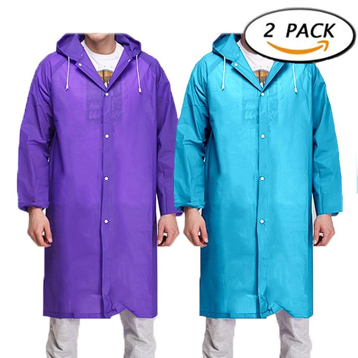 RenBa Portable Rain Poncho 2 Pack Adult Reusable Raincoat with Hoods and Sleeves ( Bule / Purple ). ★Material: Made of 0.13mm thicker EVA material, durable and lightweight and to store in your car. ★Rain Poncho is made of a water-proof material.Rain Poncho can be used during any season,especially on those windy days. ★Hooded Rain Coat: Attached drawstring hood and long sleeves, plastic snap closure type, for quick protection from a downpour, keep our rainwear handy. ★Multiple Uses:A good...
