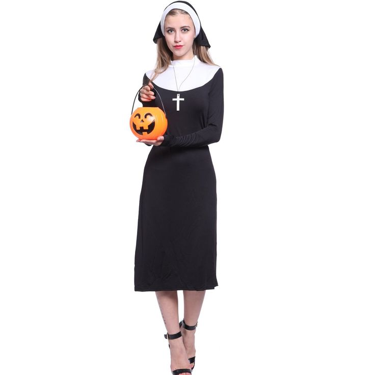 robe bonne soeur religieuse d guisement costume tenue femme halloween adult nonne sister s m l. Black Bedroom Furniture Sets. Home Design Ideas