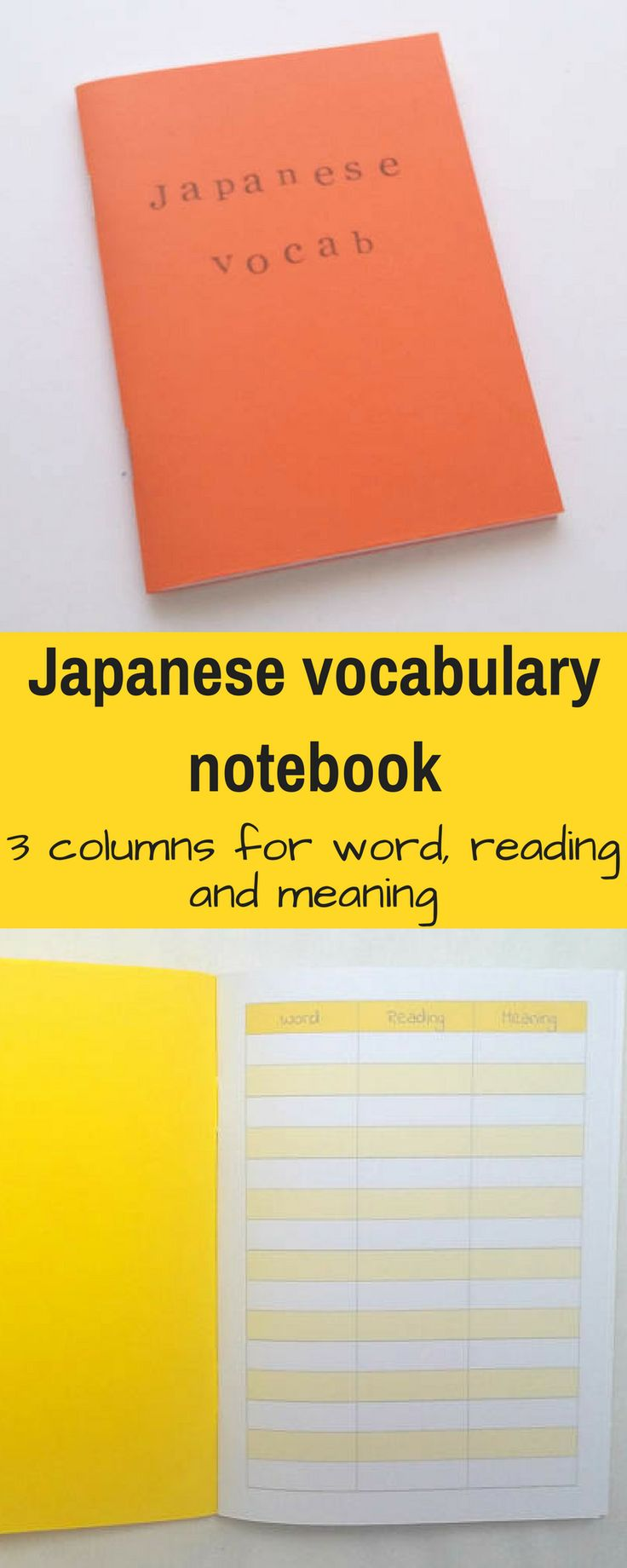 This notebook looks so useful for learning Japanese words! I've been looking for one like this with different columns. So I can write the words in Japanese characters in the first column, then pronunciation, then meaning. Really good idea. #ad #notebook #japanese #nihongo #languages #japanesestudy