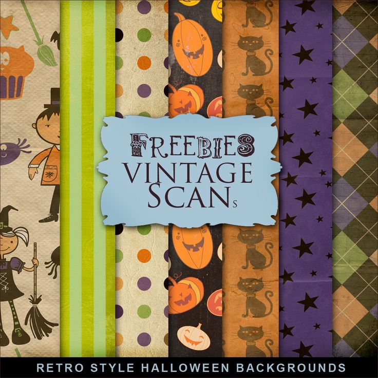 Freebies Kit of Retro Backgrounds for Halloween