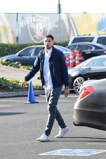 Klay Thompson of the Golden State Warriors arrives at the arena before the game against the Oklahoma City Thunder on February 24 2018 at ORACLE Arena...