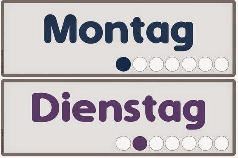 Ideenreise Die Wochentage auf Deutsch (Wortkarten