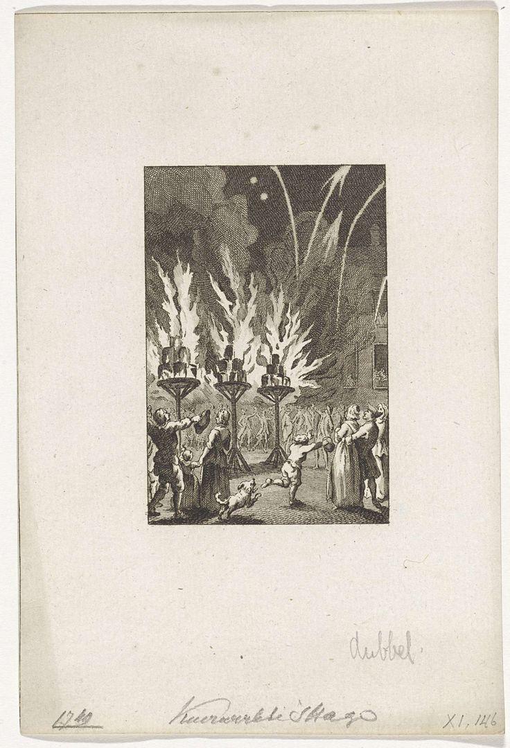 Reinier Vinkeles | Vuurwerk te Den Haag voor de Vrede van Aken, 1749, Reinier Vinkeles, Cornelis Bogerts, Jacobus Buys, 1783 - 1795 | Vreugdevuren en vuurwerk afgestoken te Den Haag op 13 juni 1749 ter ere van de Vrede van Aken gesloten in 1748.
