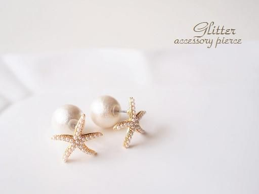 starfish pearl pierces from glitter accesory