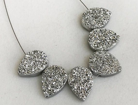 2 Pcs Silver Drop Druzy Titanium Silver Drilled Druzy