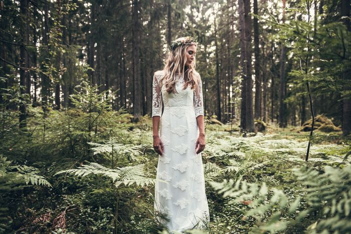 Earthy bride from this wedding in Swedish Ruins at Rytterne Kyrka  | Image by  Karin Lundin