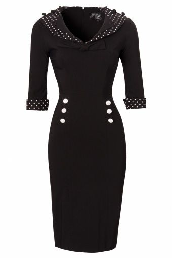 Bunny - 50s Thelma Pencil Dress black white polka #topvintage