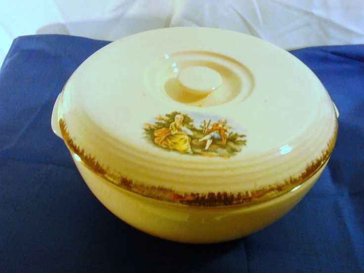 Vintage BAKE OVEN Pottery Casserole Dish Gold Edging Victorian Man Woman Decal #BAKEOVEN