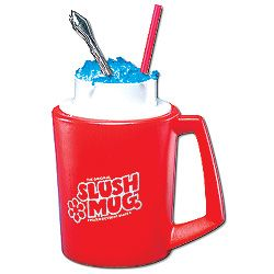 Slush Mug-   Slush Mug  Changes almost any beverage into a delicious, frozen dessert.    Keep Slush Mug in freezer until you're ready, then pour in drink and watch as it thickens into an icy full-bodied slush in minutes!
