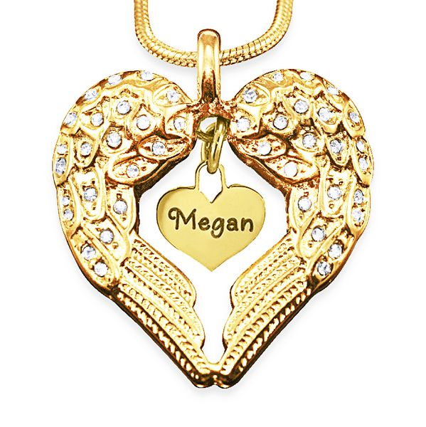 Belle Fever - Angels Heart Necklace with Heart Insert Gold