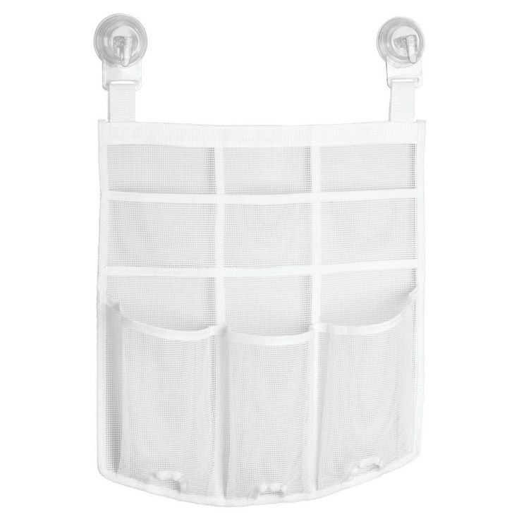 Awesome Power Lock Suction Mesh Hanging Shower Caddy   White   InterDesign