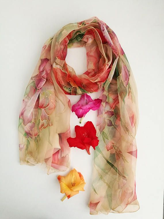 1ad4ad584b3 August silk chiffon scarf Gladiolus and Poppy scarf Nude Beige Red ...
