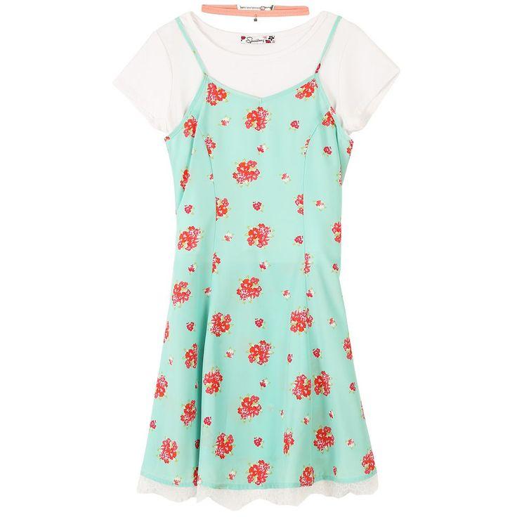 Girls 7-16 Speechless Floral Slipdress T-Shirt Dress & Choker Necklace Set, Size: 10, Green Oth