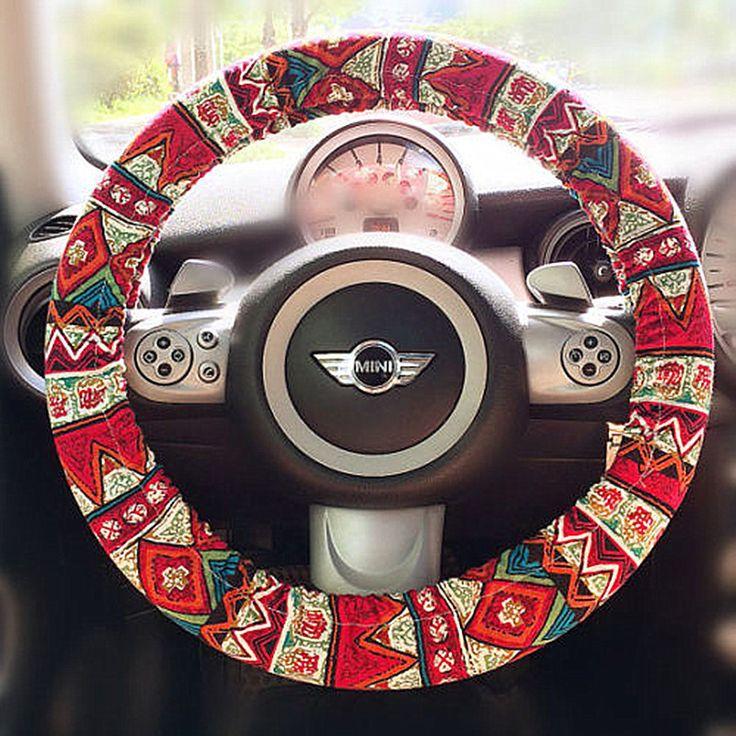 BOHO Red zigzag Aztec Chevron Steering wheel cover - Carsoda