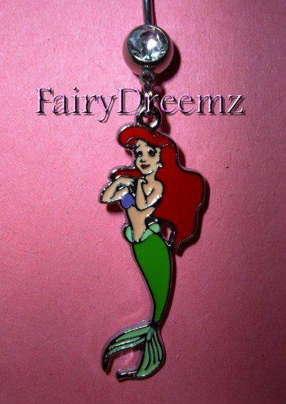 Ariel Little Mermaid Full Body Swimming Princess Disney Belly Navel Ring Jewelry