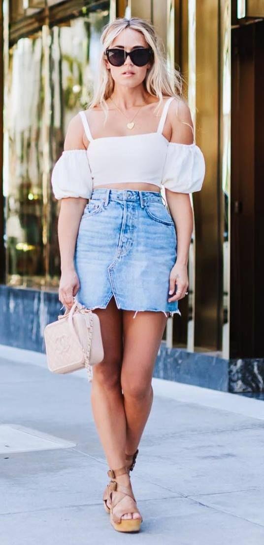 ootd: top + bag + denim skirt