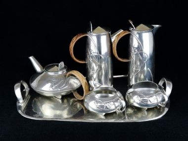 Iconic Liberty & co Tudric six piece pewter tea and coffee set designed by Archibald Knox. C 1903