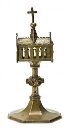 Relicario-ostensorio francés en bronce cobrizo dorado, de la primera mitad del siglo XV