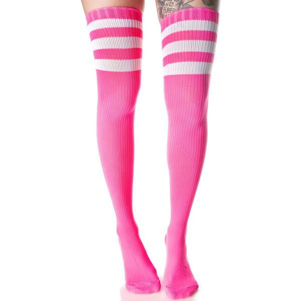Candy Rack Em Up Thigh Highs ($15) ❤ liked on Polyvore featuring intimates, hosiery, socks, white socks, pink socks, pink thigh high socks, white hosiery and white ribbed socks