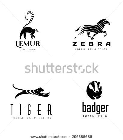 Animal Emblem Collection. Lemur, Horse, Tiger and Badger