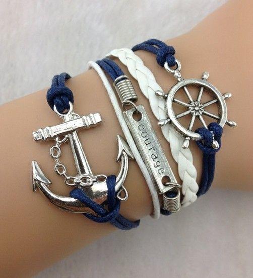 Pcs 5 del timón, valentía& anchor encanto pulsera en plata- cera pantalonesdepana y pulsera de cuero trenzado-...