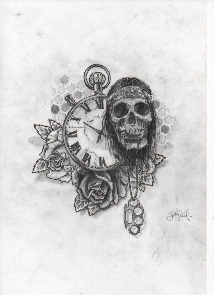 skull time rose tattoo