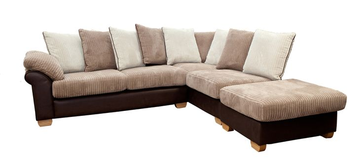 Monaco Left Arm Pillow Back Corner Sofa with Large Footstool. Visit our website to view more in this range.  http://drumbristonfurniture.ie/cornersofas.html