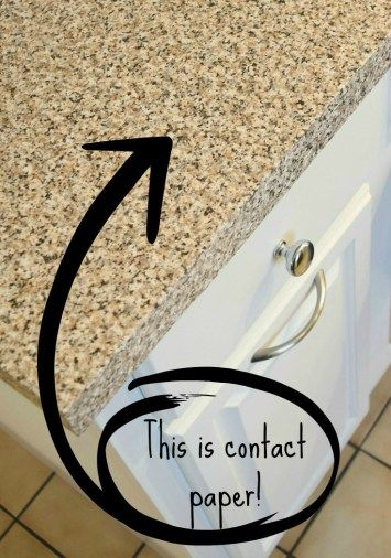 Get the granite look for much less with contact paper! I covered up our ugly blue laminate countertops for a quick, easy update until the full renovation can begin. - The Handyman's Daughter