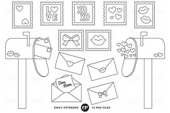 50 Off Sale Love Letters Digital Stamps Valentine S Day Line Art Mailbox Clip Art Commercial Use Instant Downloa Digital Stamps Line Art Images Clip Art