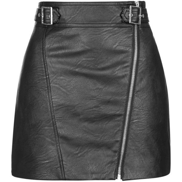 TOPSHOP PETITE PU Biker Skirt found on Polyvore featuring skirts, topshop, black, petite, black high waisted skirt, high rise skirts, high waisted skirts, bike skirt and black knee length skirt