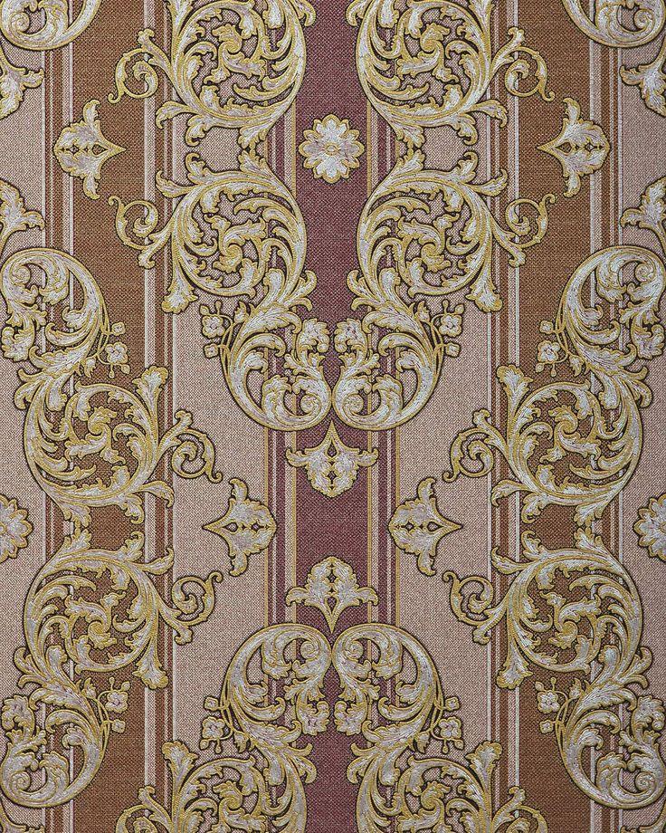 Barok behang EDEM 580-34 opgeschuimd vinylbehang gestructureerd in textiel look en metalen accenten bruin roodbruin parelmoer-goud zilver 5,33 m2