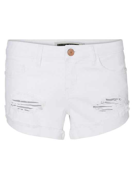 White denim shorts from Noisy may. Match with either a funky top or sweater.