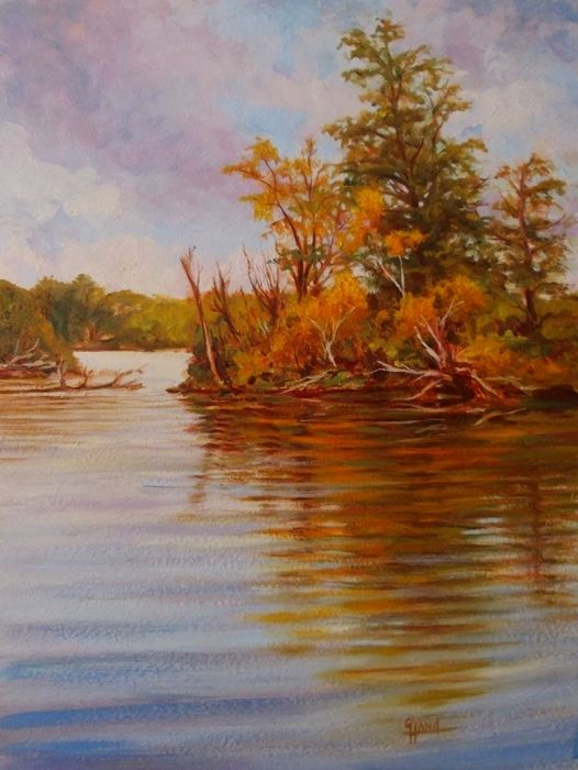 """October Afternoon on the Muskoka River.......12""""x 16""""...Oil Painting by..Greg Hand"""