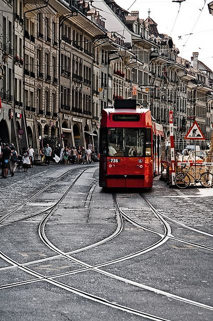 Tram -  Bern's Old City streets in Switzerland