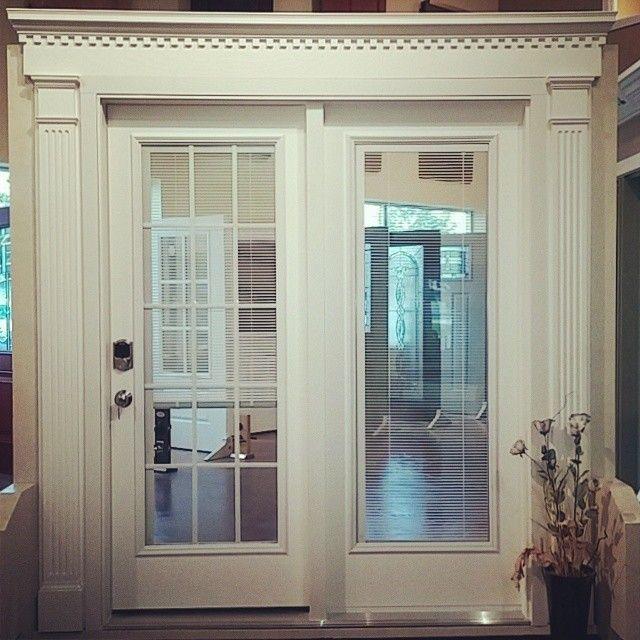 Patio door   Hinged atrium style door  full glass with slide and tilt  blinds inside7 best Showroom Displays images on Pinterest   Showroom  Entry  . New Style Patio Doors. Home Design Ideas