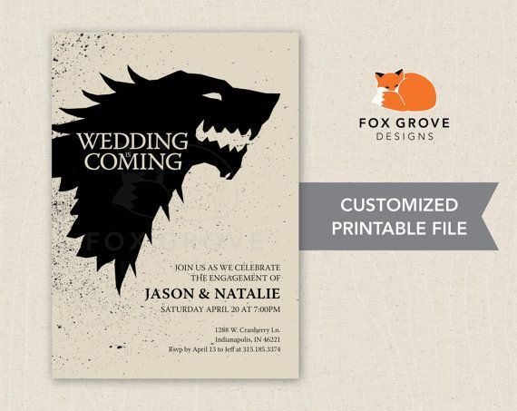 Wedding is Coming Game of Thrones printable by FoxGroveDesigns