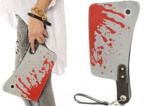 Accessories Boutique Women The Bloody Cleaver Clutch Purse. The Kreepsville 666 Cleaver Clutch Yikes! Rule the world with this Cleaver Clutch with blood splattered allover. This coupling can still keep your beloved ward off all your unwanted stuff creeps.