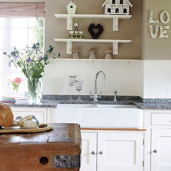 Country kitchen with butler sink and wall panels | Kitchen decorating