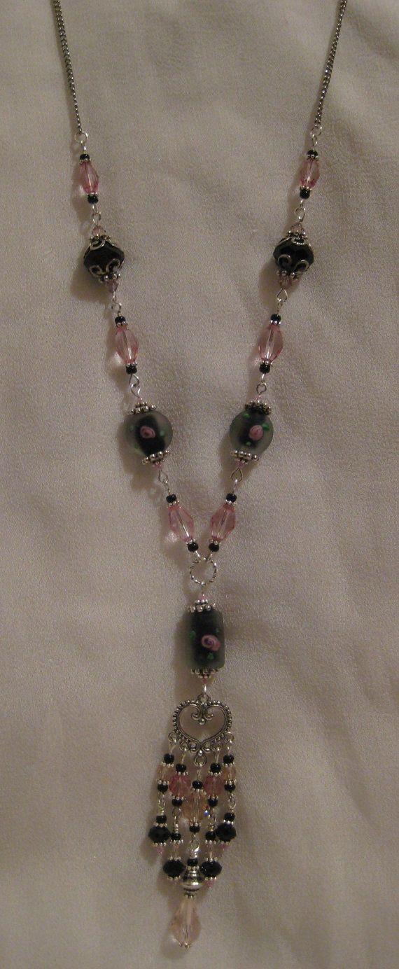 Black and Rose Crystal Chandelier Pendant by JadedJewelsUK on Etsy, £20.00